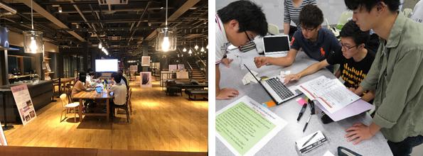 (左)米国MITのメディアラボをヒントに2017年開設した「Challenge Lab」(右)社会課題の解決を図るプロジェクトデザイン教育がカリキュラムの柱