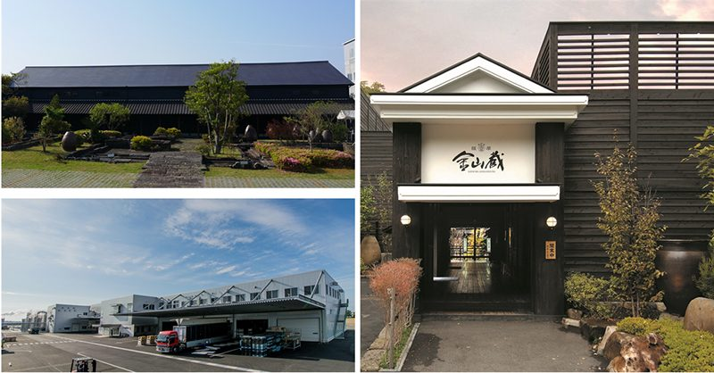 明治元年の創業以来150年。現在、濵田酒造グループで伝兵衛蔵(左上)・傳藏院蔵(左下)・金山蔵(右)という『伝統』『革新』『継承』を体現した3つの蔵を有している