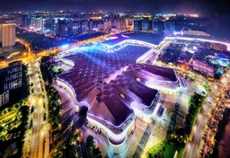 CICPEの会場、海南国際会議展示センターの夜景
