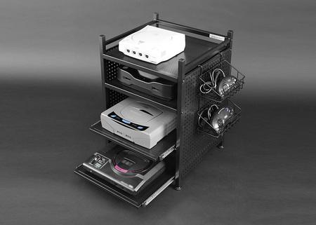 排熱を促すパンチング棚板を選定、コントローラースタンドも付属するゲーム機収納専用ラックです。