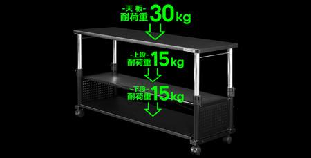 耐荷重は天板30kg未満、上段および下段ともに15kg未満に、それぞれ設定されています。