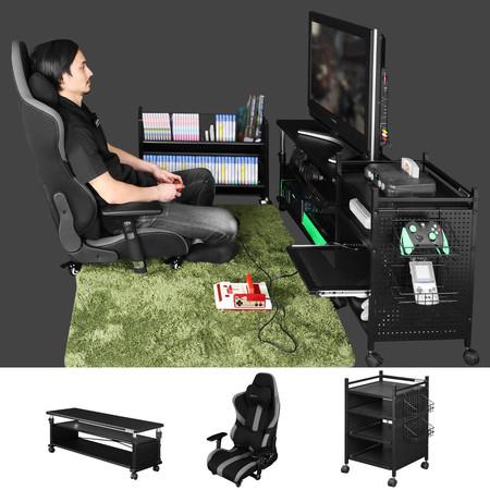 """新製品「昇降式テレビ台」を中心としたテレビゲーム部屋の""""ネオクラシック型""""スタイルを提案。"""