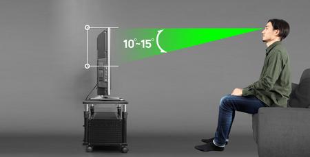 テレビ画面の中心を目線から約10~15度低い位置に配すると目が疲れにくいようです。