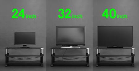 24インチ、32インチ、40インチとテレビ画面のサイズを問わず、「昇降式テレビ台」は同じ高さに調整可能。
