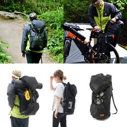 自転車キャリアへ取り付け可能、容量可変・背負子型バックパック「大容量サイドバックパック」を発売。