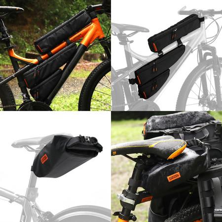 固定場所や組み合わせを自由に選択できる自転車用バッグ2種類を発売。