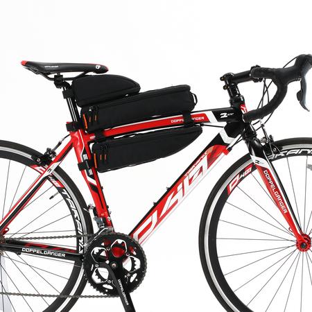 安定感を重視し、シートポスト側に寄せてロードバイクに取り付けた事例画像。