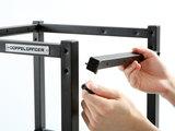 サイドフレームの取り付け位置を調整すれば、市販の1×4材、2×4材を棚板として使用できます。