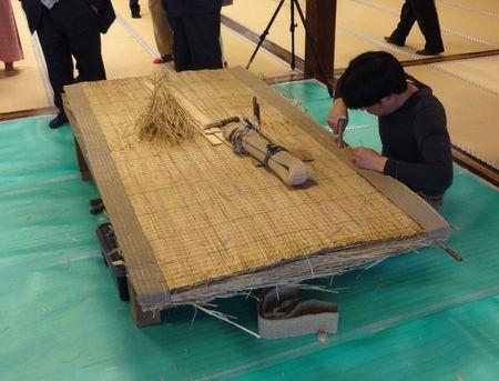 イケメン畳職人による畳作り製作披露
