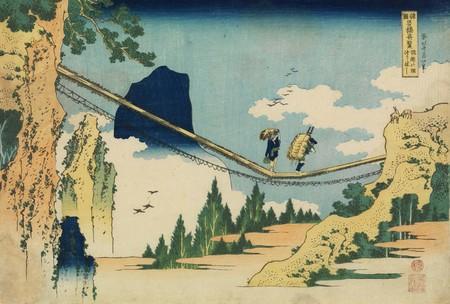 葛飾北斎「諸国名橋奇覧 飛越の堺つりはし」すみだ北斎美術館蔵