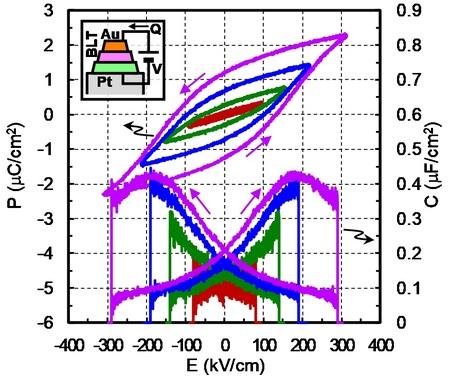 メムキャパシタ(b)強誘電体特性
