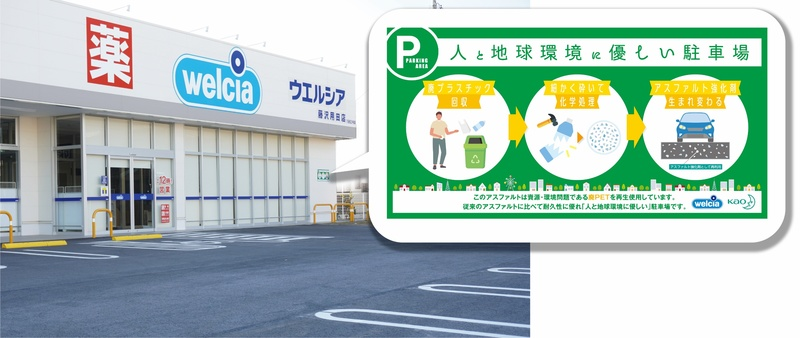 花王が開発した廃PETをリサイクルした高耐久アスファルト改質剤をウエルシアが新店舗駐車場舗装に初採用